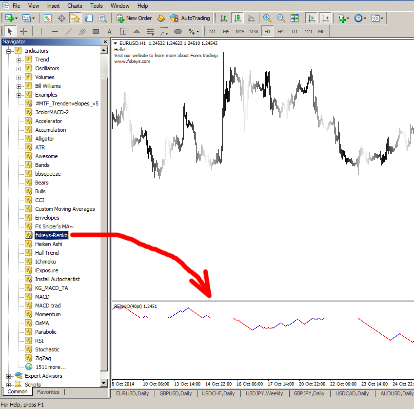 how to install renko live chart on mt4