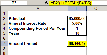 compound interest calculator excel formula