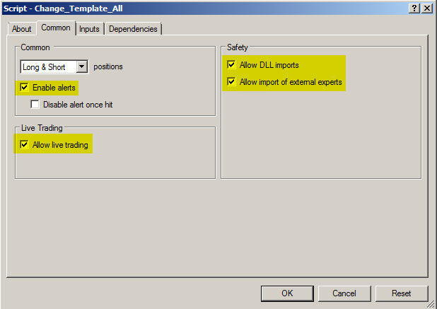 how to change default template in mt4