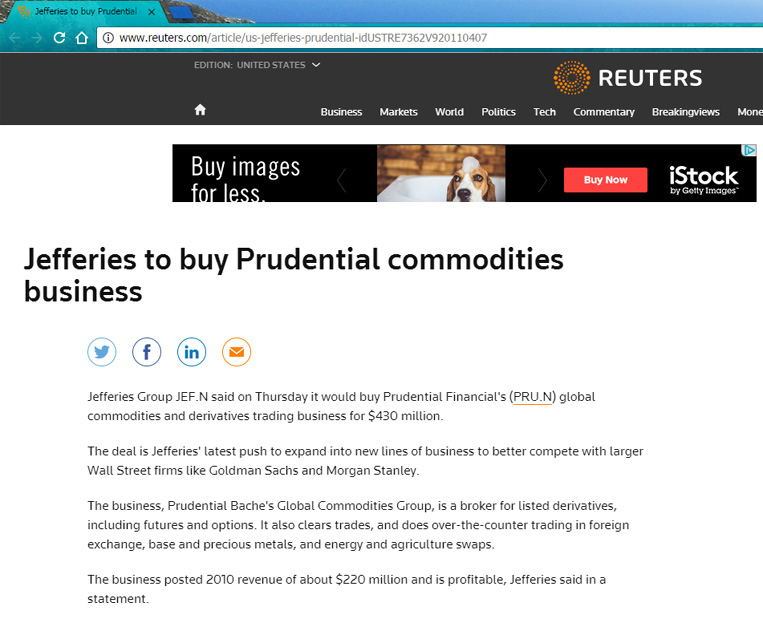 Jefferies buying the Prudential Financial stock
