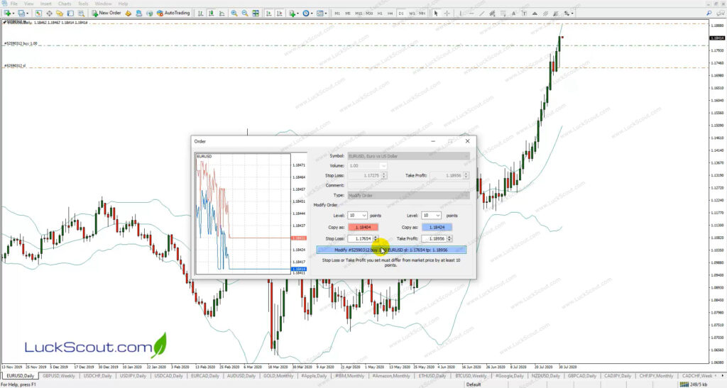Modifying the Buy Stop Orders Stop Loss on MT4