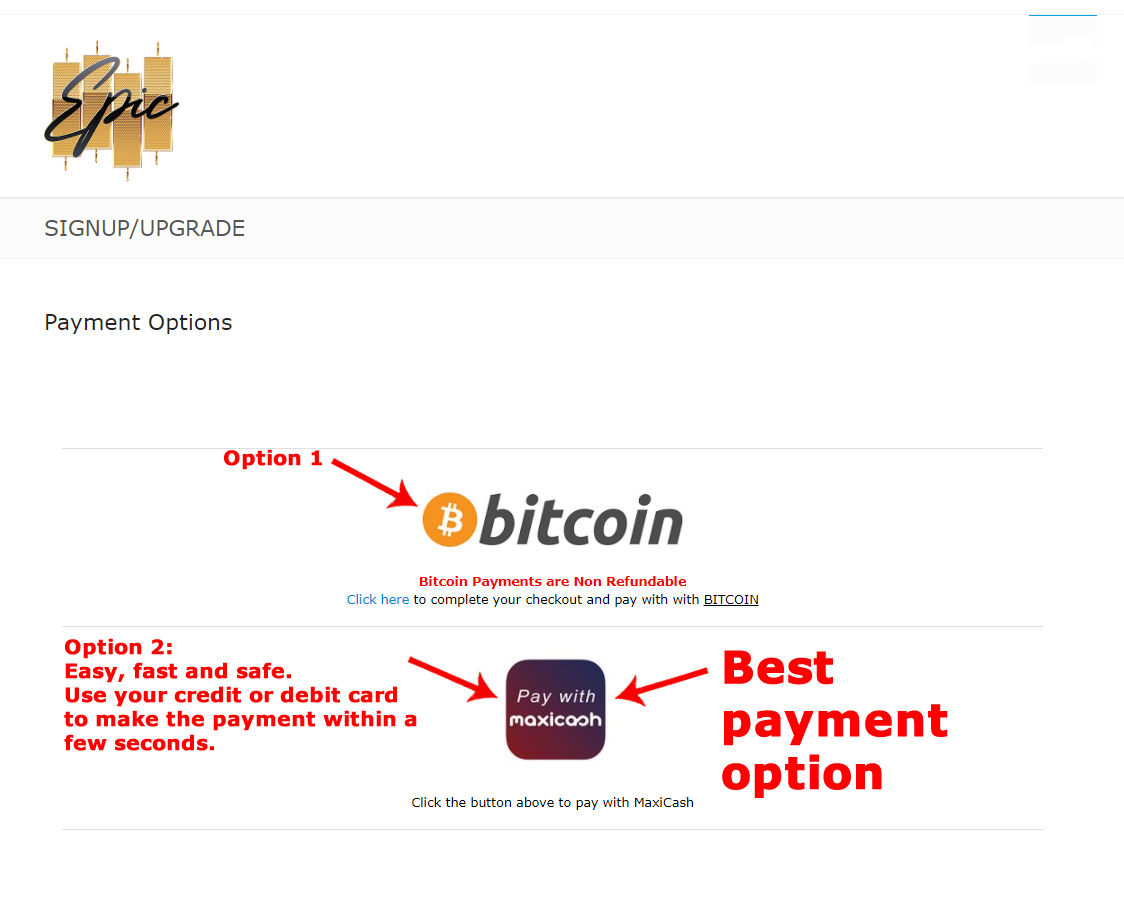 Epic Trading Different Payment Options