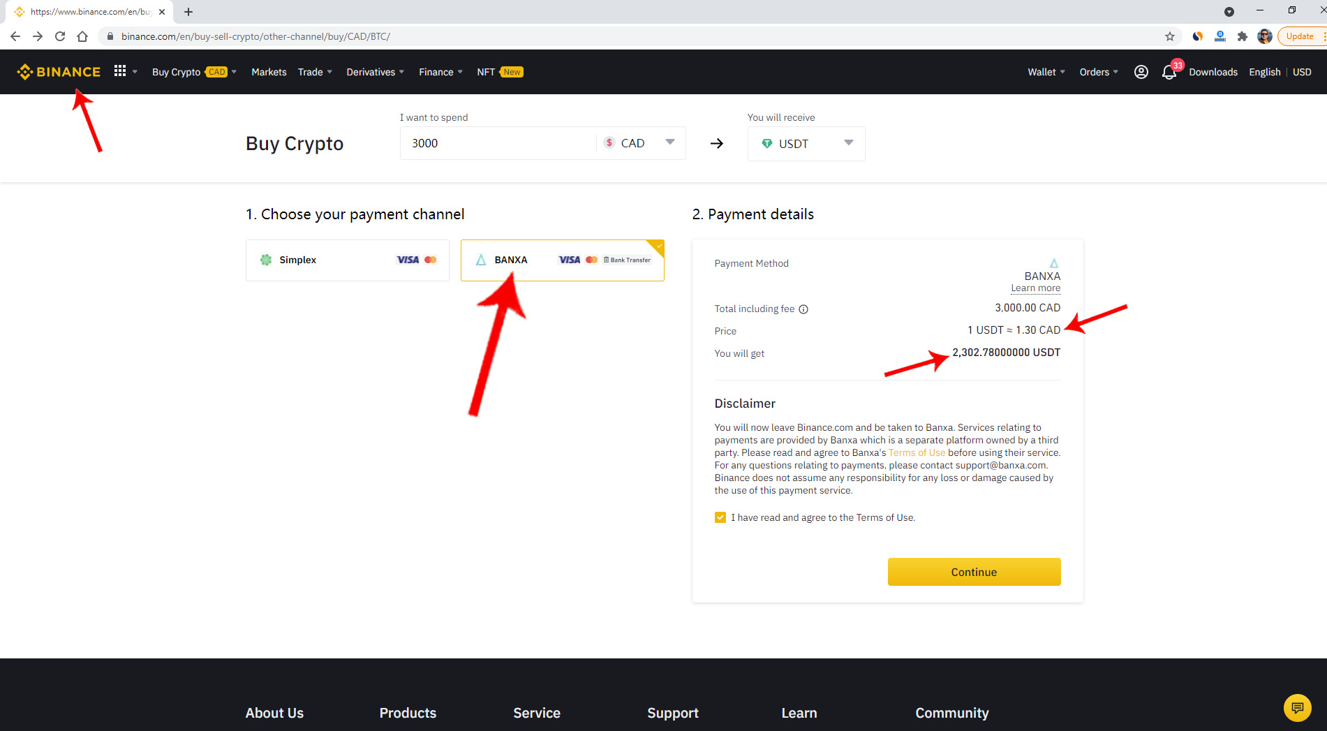 Buying Cryptos with Banxa in Binance