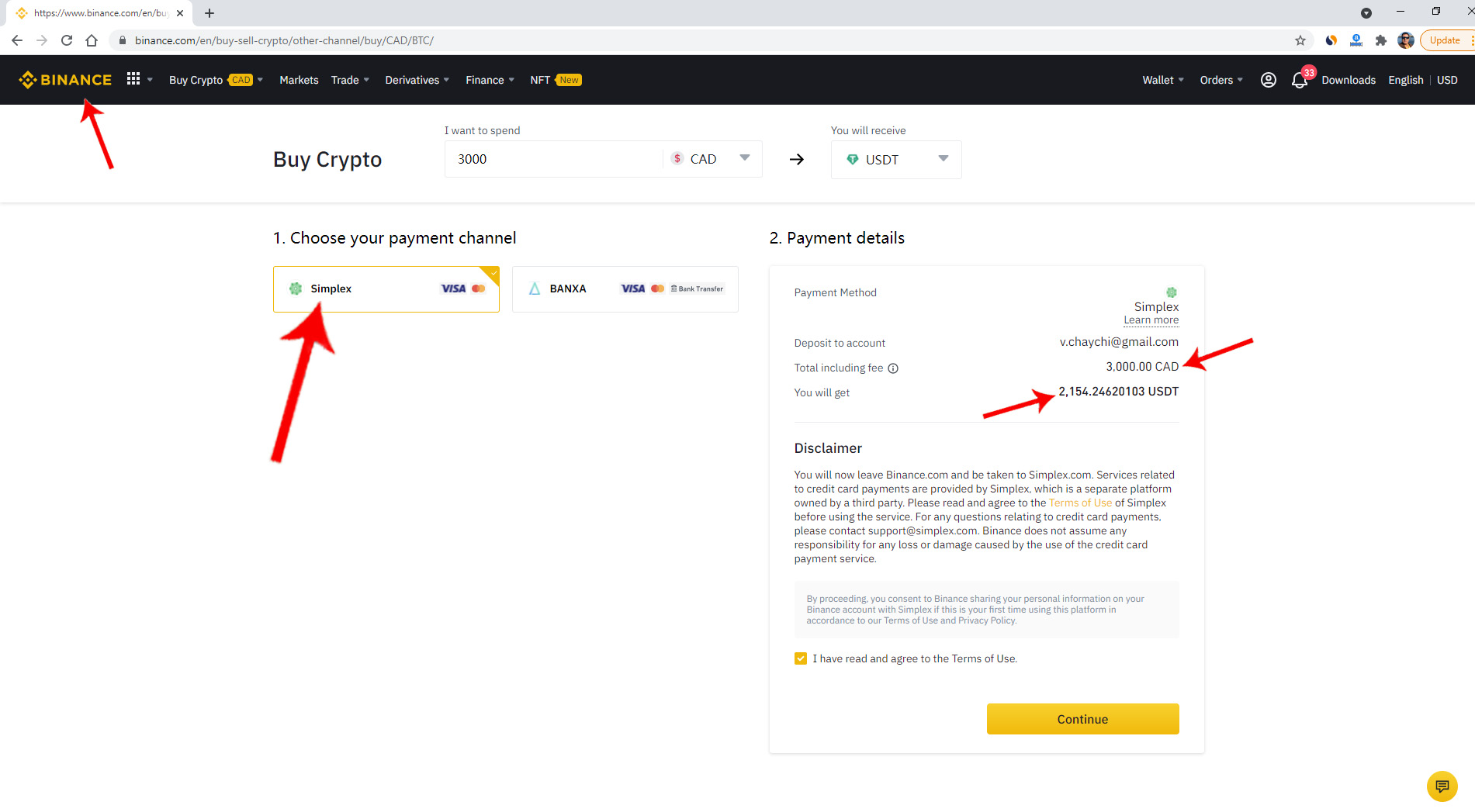 Buying with Simplex in Binance