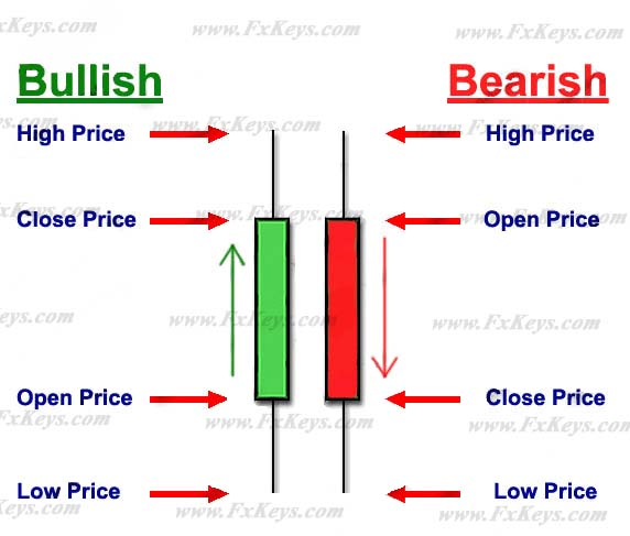 The differences of the bullish and bearish Japanese candlesticks